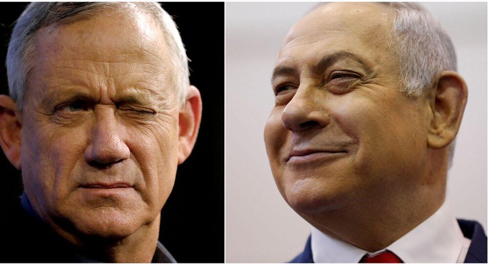 Benny Gantz, líder da coalizão Azul e Branco, e Benjamin Netanyahu, do partido Likud, durante campanha eleitoral em Ashkelon, Israel (foto de arquivo)