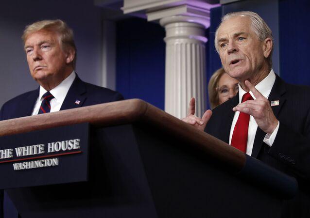 Consultor Peter Navarro ao lado do presidente dos EUA, Donald Trump, durante coletiva na Casa Branca