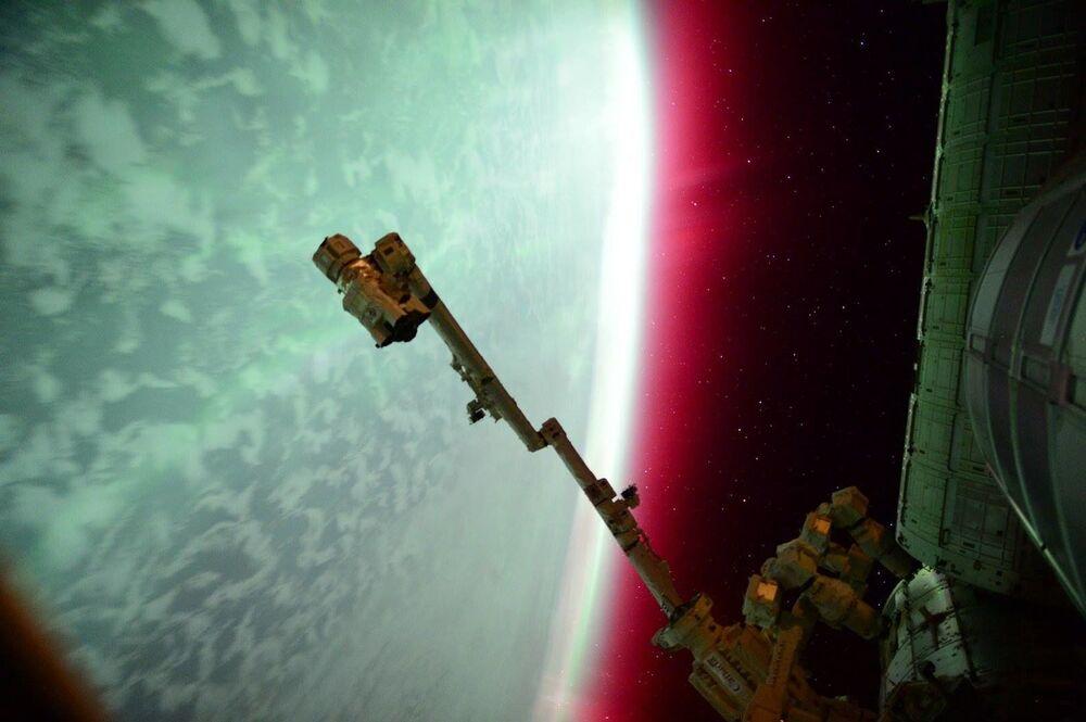 Aurora boreal vista a partir da Estação Espacial Internacional