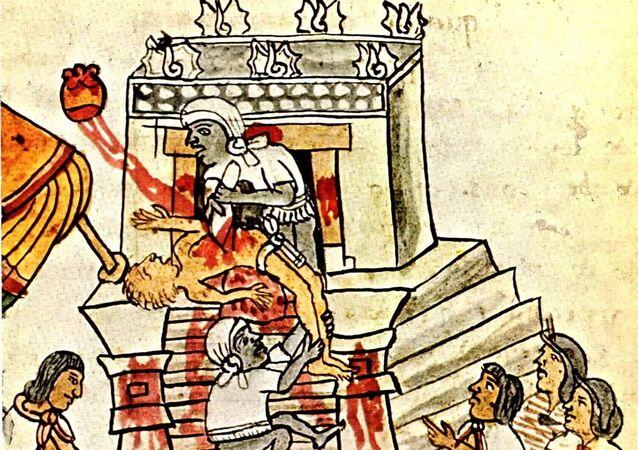 Sacrifício humano segundo mostrado no Codex Magliabechiano