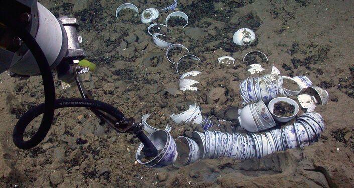 Xícaras de porcelana chinesa encontradas em navio naufragado.