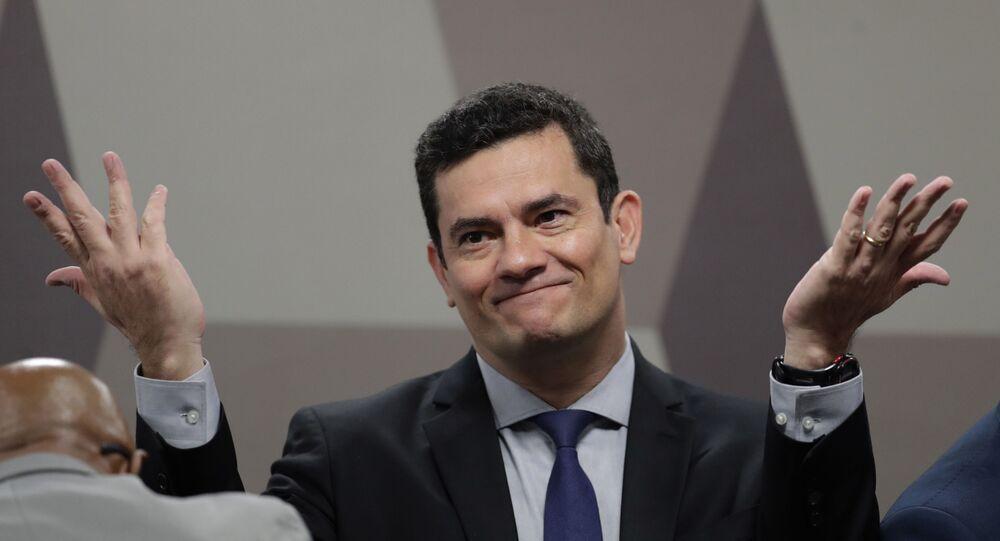 Ministro da Justiça Sergio Moro durante debate em comissão do Senado, em Brasília