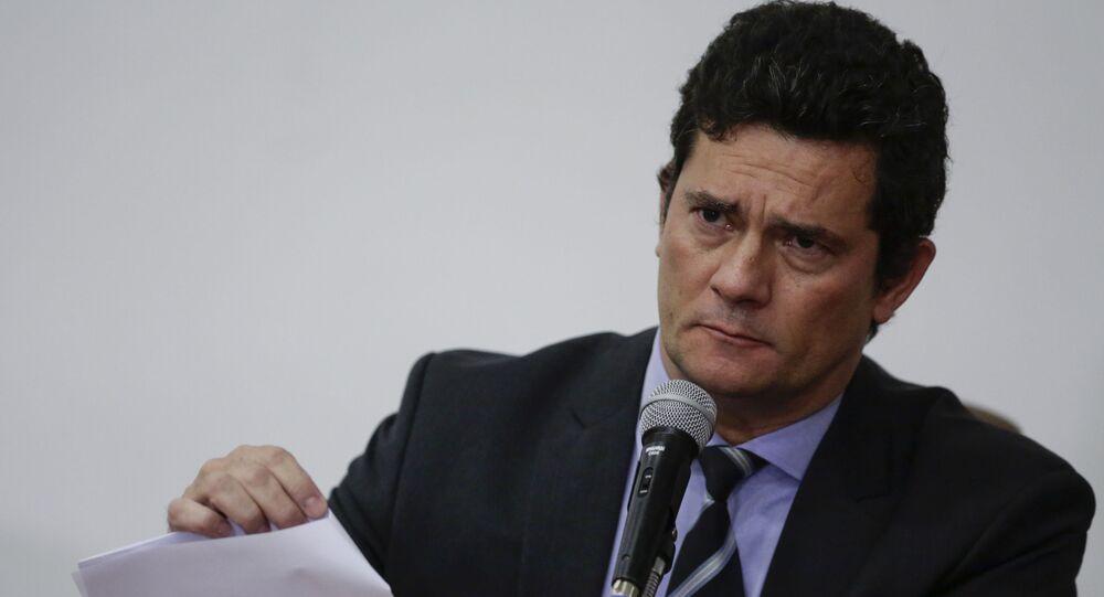 Ex-ministro da Justiça e Segurança Pública, Sergio Moro, faz um pronunciamento anunciando sua saída do governo Bolsonaro.