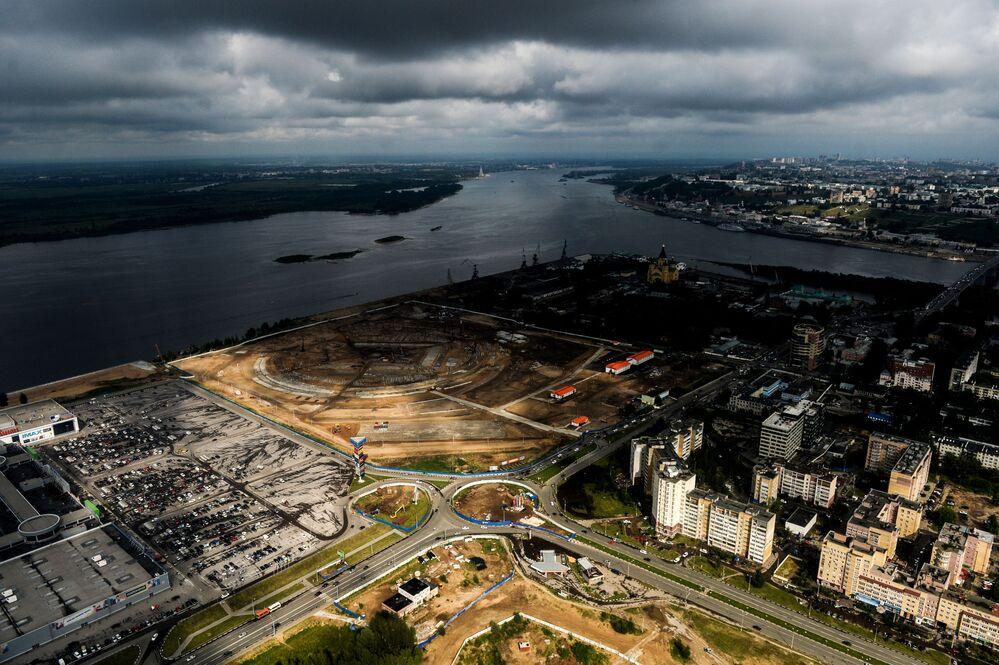 Construção do estádio Nizhny Novgorod para a Copa do Mundo de 2018
