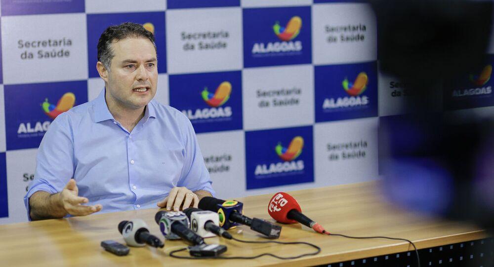 Governador do Alagoas, Renan Filho, em entrevista coletiva.