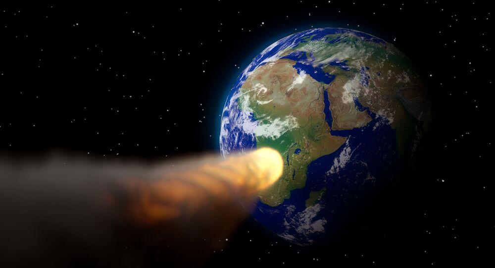 Ilustração artística de asteroide se aproximando da Terra