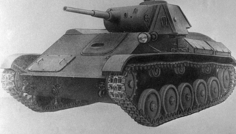 Reprodução do desenho do tanque ligeiro T-70