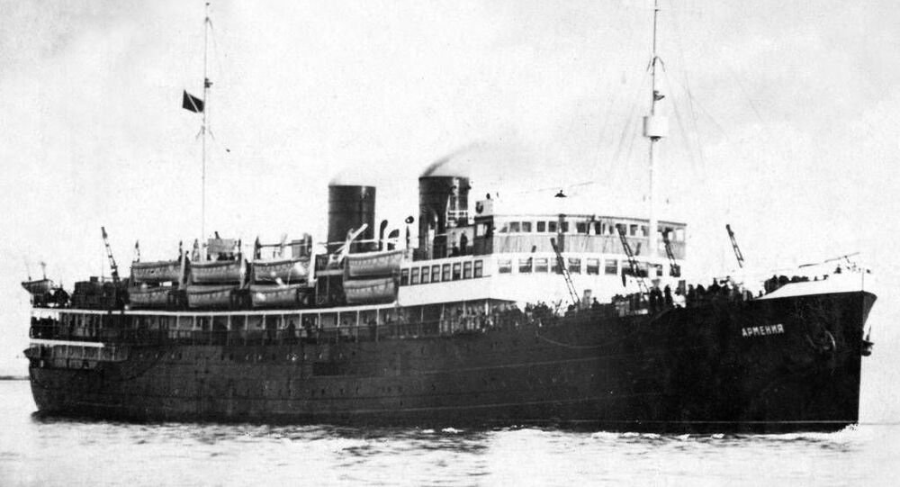 O navio a vapor Armenia antes do ano do seu naufrágio, em 1941