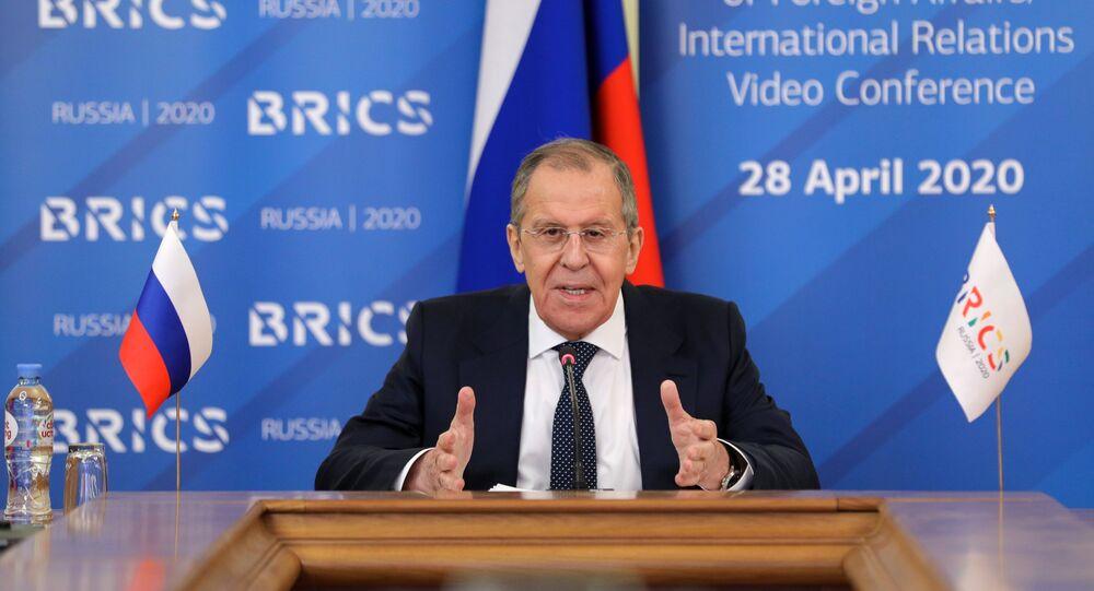 Chanceler russo Sergei Lavrov participa de reunião com ministros das Relações Exteriores do BRICS, 28 de abril de 2020