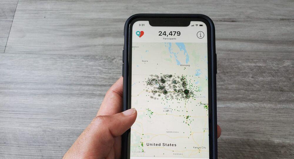 Aplicativo Care19, que os governadores de Dakota do Norte e Dakota do Sul pediram aos residentes que fizessem o download para auxiliar no rastreamento de contatos durante o surto global da doença COVID-19
