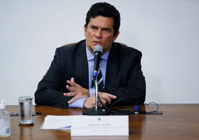Ex-ministro da Justiça Sergio Moro durante coletiva de imprensa em Brasília, 24 de abril de 2020