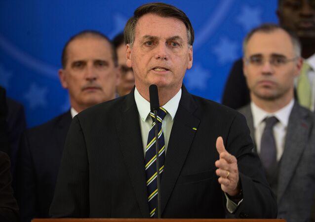 Presidente da República, Jair Bolsonaro, faz Pronunciamento no Palácio do Planalto, 24 de abril de 2020