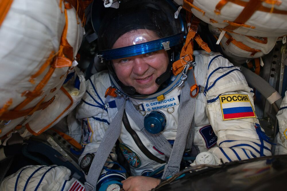 Cosmonauta russo Oleg Skripochka, membro da equipe da Estação Espacial Internacional