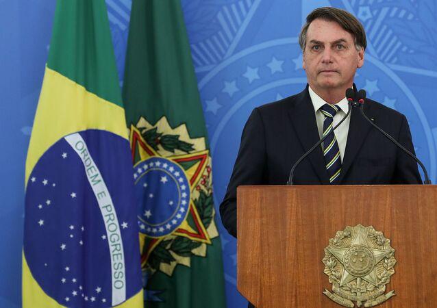 Presidente da República Jair Bolsonaro, durante coletiva de imprensa.