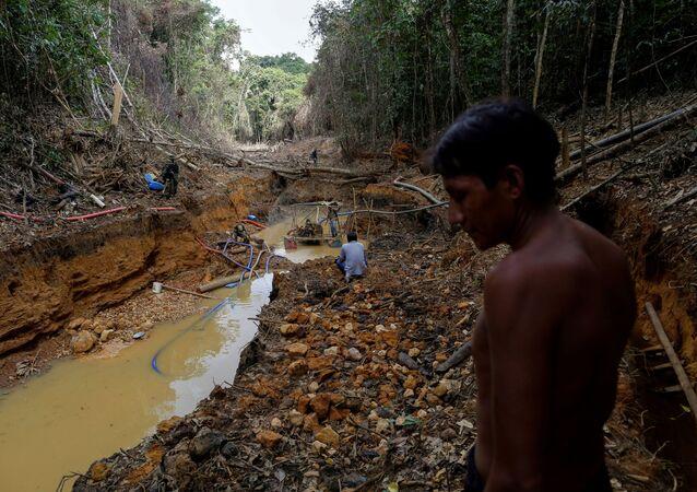 Índio yanomami acompanha agente do Ibama em operação contra a mineração ilegal no setor de Roraima da Amazônia