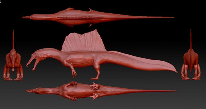 Os pesquisadores criaram a representação gráfica da aparência do Spinosaurus aegyptiacus