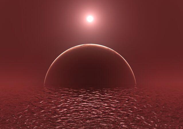 Ilustração artística de exoplaneta