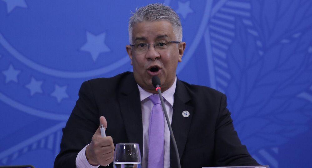 O secretário de Vigilância em Sáude Wanderson Oliveira durante coletiva de imprensa da equipe técnica do Ministério da Saúde.