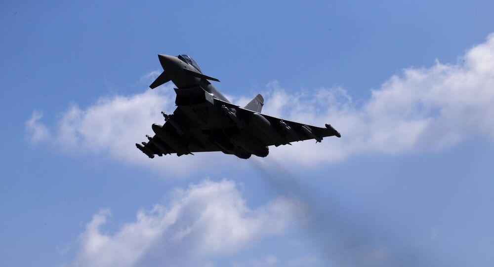 Caça Typhoon da Força Aérea britânica, no Iraque (foto de arquivo)