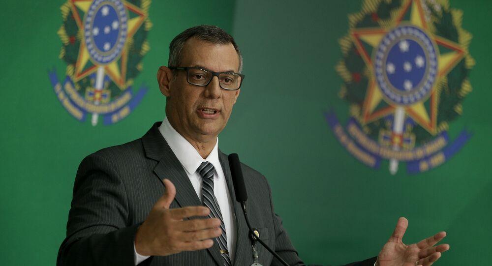O porta voz do governo Bolsonaro, Otávio Rêgo Barros, durante entrevista coletiva no Palácio do Planalto
