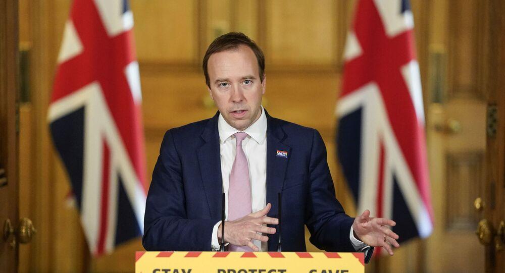 Ministro da Saúde do Reino Unido, Matt Hancock, fala ao país durante a pandemia do coronavírus