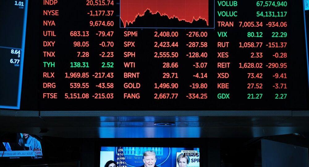 Painel com dados financeiros da Bolsa de Valores de Nova York (foto de arquivo)