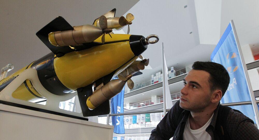 Maquete de submersível não tripulado russo