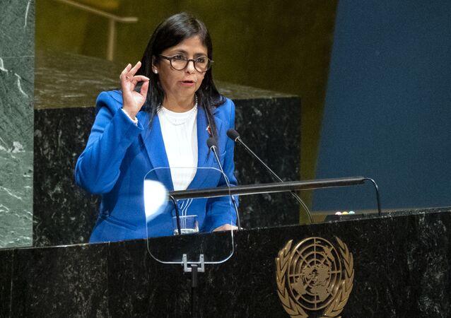 Vice-presidente da Venezuela, Delcy Rodríguez, durante a 74ª sessão da Assembleia Geral da ONU em Nova York, EUA, 27 de setembro de 2019