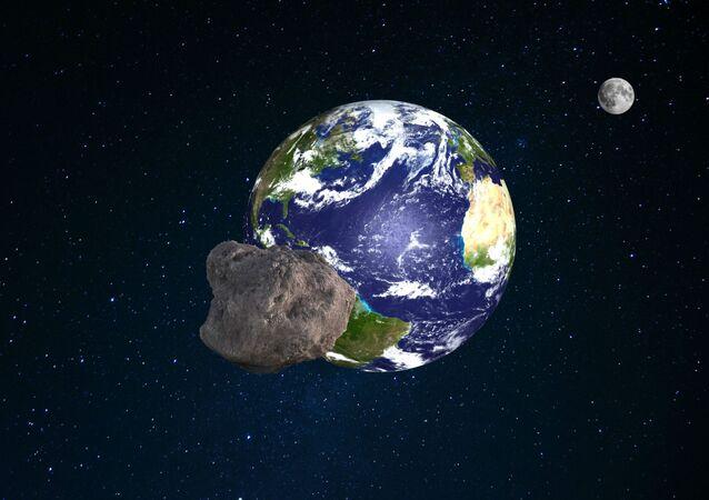 Ilustração artística de asteroide voando em direção à Terra