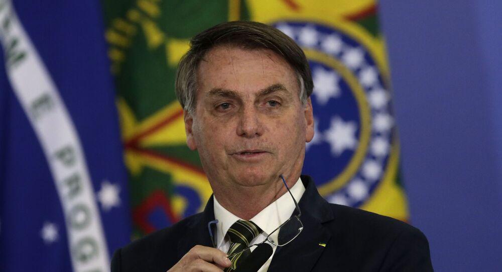 Presidente Jair Bolsonaro durante a posse do ministro da Justiça, André Mendonça, em Brasília