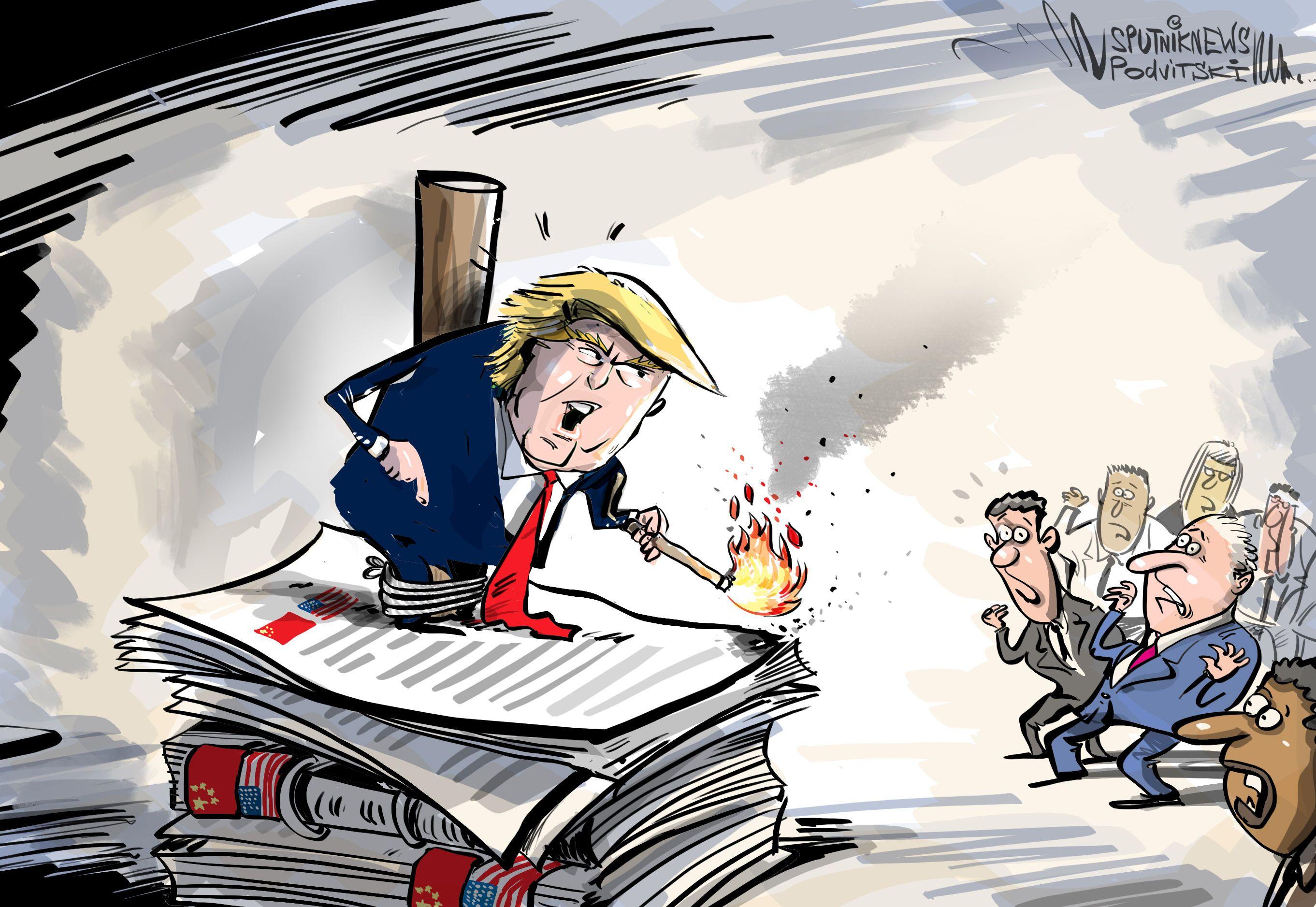 Trump pondo fogo em todas as lembranças chinesas