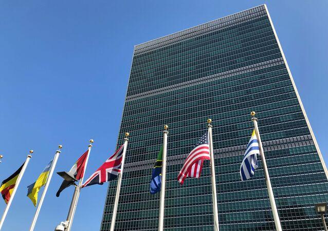 Sede da ONU em Nova York com bandeiras dos Estados-membros