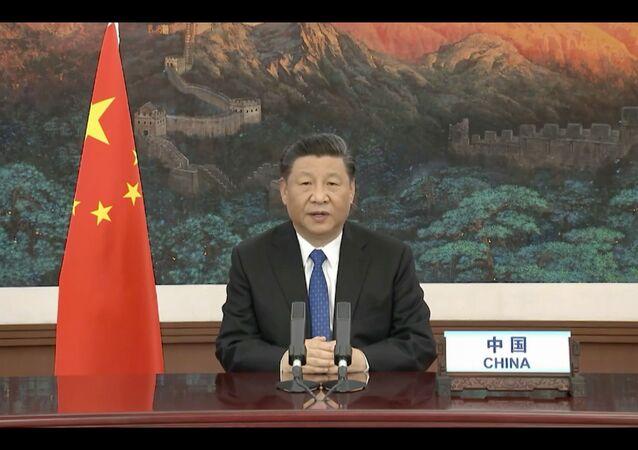 Presidente da China, Xi Jinping, durante participação por videoconferência na Assembleia da Organização Mundial da Saúde (OMS), 18 de maio de 2020