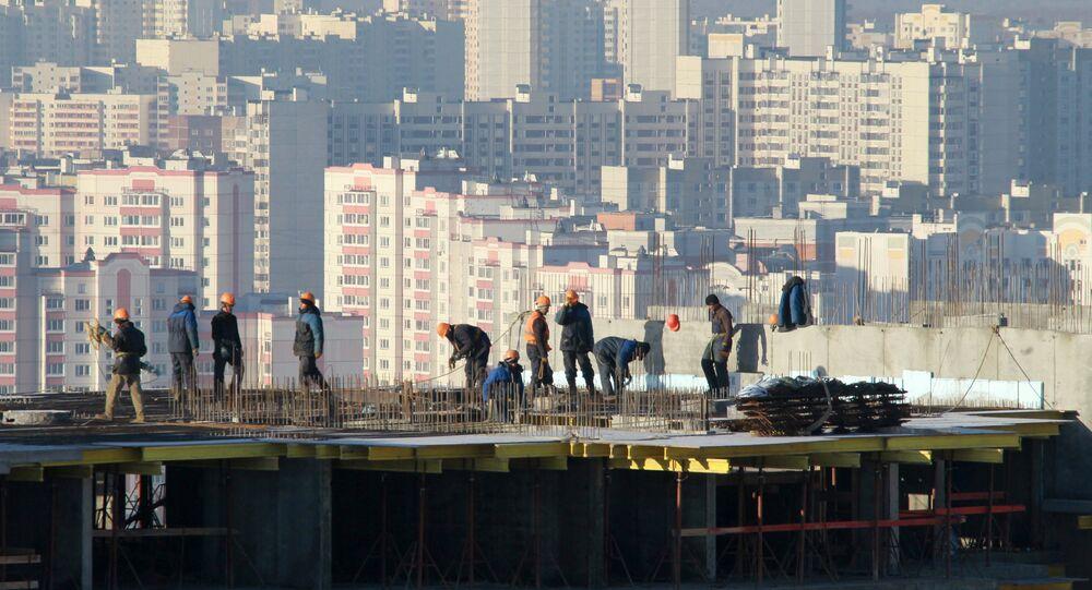 Construção do bairro residencial em Moscou