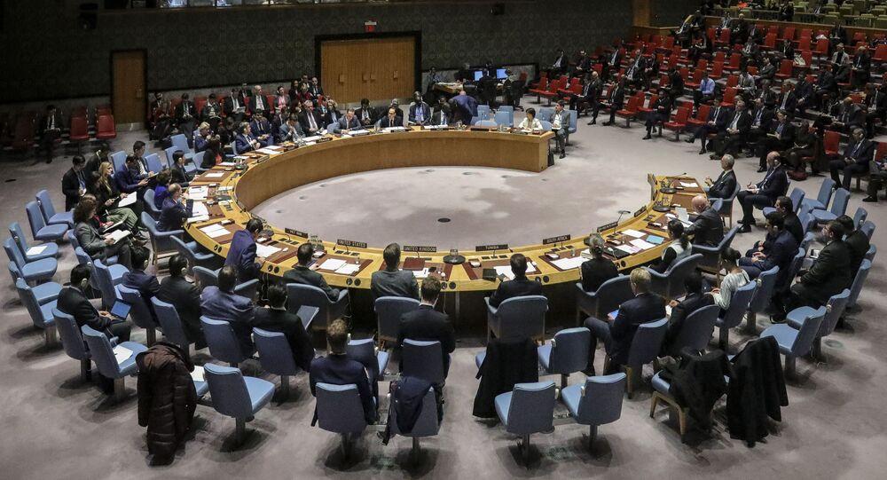Membros do Conselho de Segurança das Nações Unidas convocam uma reunião sobre o Tratado de Não-Proliferação de Armas Nucleares na sede das Nações Unidas, 26 de fevereiro de 2020