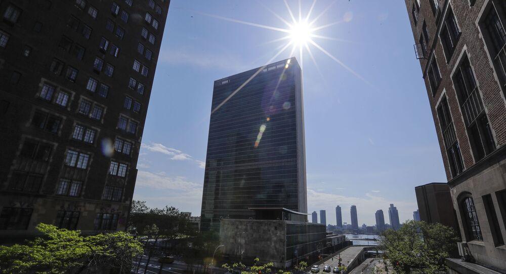 Sede das Nações Unidas com pouco tráfego por perto devido ao coronavírus, 15 de maio de 2020, Nova York