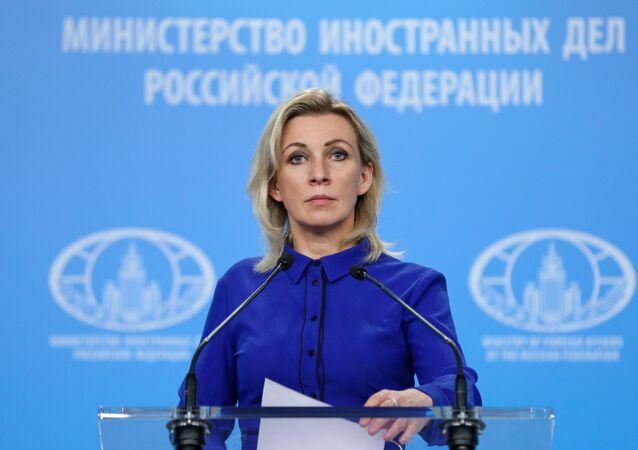 A representante oficial do Ministério das Relações Exteriores da Rússia, Maria Zakharova, durante um pronunciamento em Moscou, na Rússia, em 21 de maio de 2020.