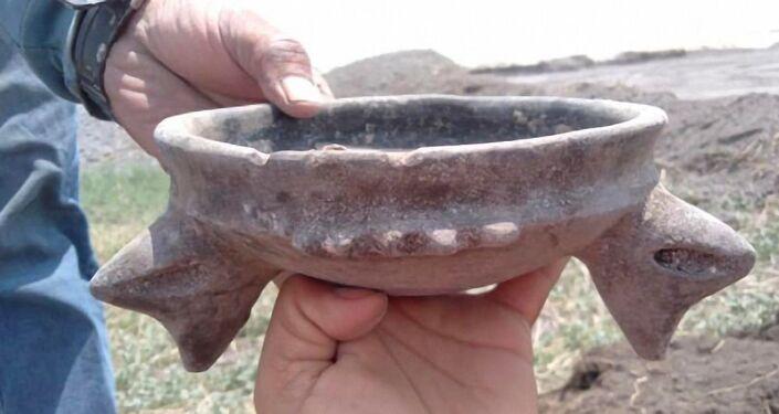 Vestígios da presença humana no local das escavações