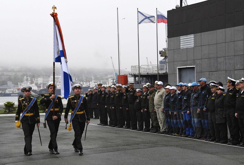 Cerimônia de inauguração do submersível não tripulado na Frota do Pacífico, em Vladivostok