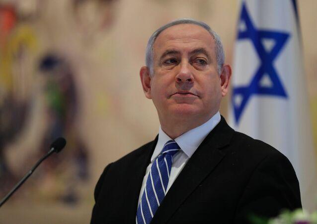 Primeiro-ministro de Israel, Benjamin Netanyahu, durante reunião de gabinete em Jerusalém, 24 de maio de 2020