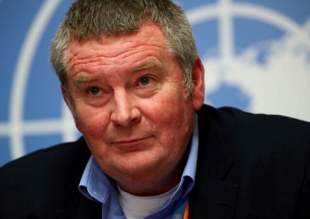 Diretor da Organização Mundial da Saúde (OMS), Mike Ryan, durante entrevista de imprensa em Genebra, na Suíça, 3 de maio de 2020