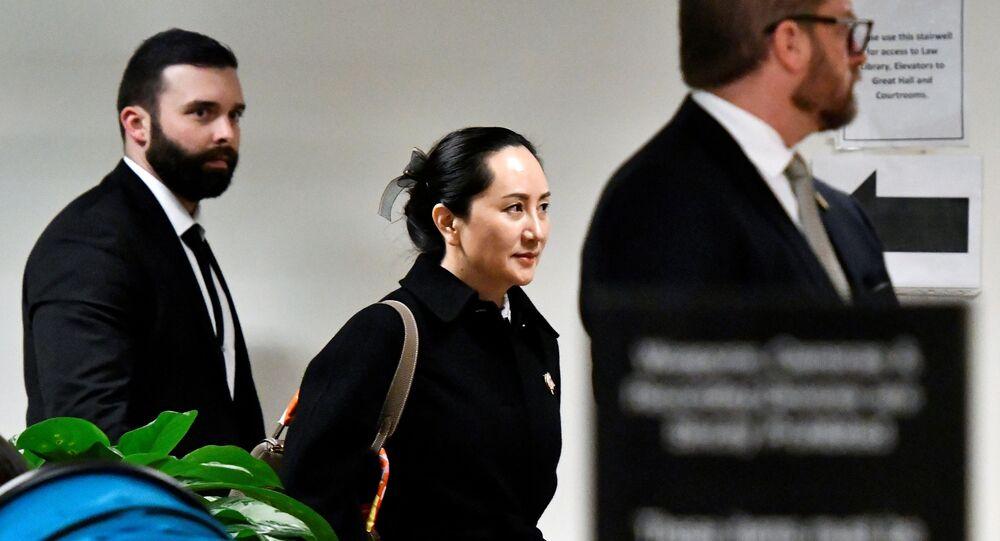 Diretora financeira da empresa chinesa Huawei, Meng Wangzhou, durante sessão na Suprema Corte da Colúmbia Britânica, em Vancouver, no Canadá, 23 de janeiro de 2020
