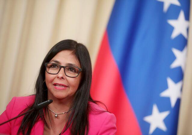 A vice-presidente executiva da Venezuela, Delcy Rodríguez, em coletiva de imprensa após seu encontro com o ministro russo das Relações Exteriores, Sergei Lavrov, em Moscou, 1º de março de 2019