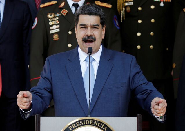 O presidente da Venezuela, Nicolás Maduro, fala durante coletiva de imprensa no Palácio Miraflores, em Caracas, Venezuela, 12 de março de 2020