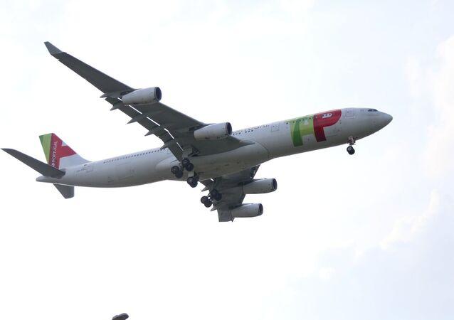 Avião da companhia aérea portuguesa TAP