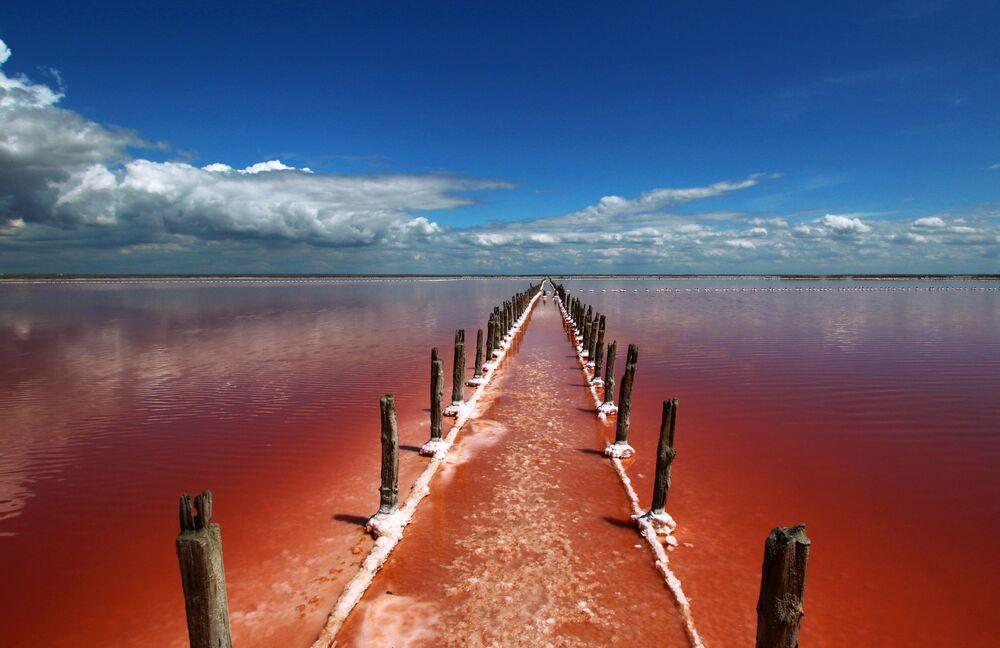 Lago salgado Sasyk-Sivash na Crimeia, Rússia