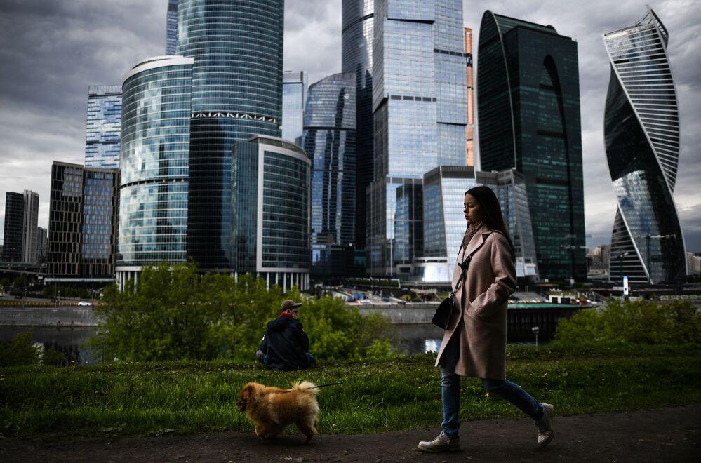 Moça caminha com seu cachorro tendo ao fundo o centro de negócios Moscow City, em Moscou