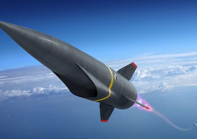 Representação gráfica de um míssil hipersônico durante a fase de lançamento