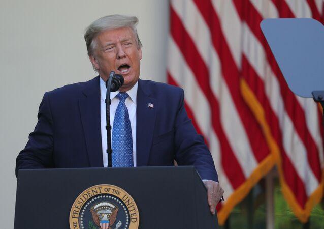 O presidente dos Estados Unidos, durante pronunciamento, em 1º de junho de 2020, sobre os protestos contra o racismo deflagrados após a morte de George Floyd.