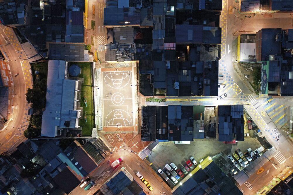 Vista aérea do bairro Ciudad Bolivar, na capital colombiana de Bogotá, em meio à pandemia do coronavírus